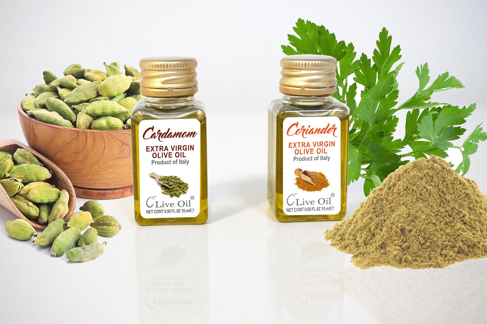 Cardamom and Coriander Extra Virgin Olive Oil - Single Serve Dressing, Live Oil